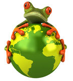 Kikker die de aarde beschermt Royalty-vrije Stock Foto