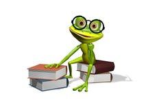 Kikker en boeken royalty-vrije illustratie