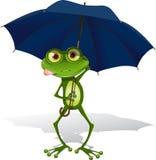 Kikker en paraplu stock illustratie