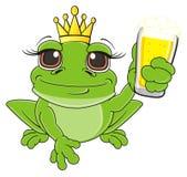 Kikker met bier stock illustratie