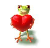 Kikker met een hart Stock Foto