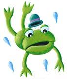 Kikker met hoed het springen stock illustratie