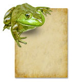 Kikker met leeg grunge oud document teken Stock Afbeelding