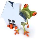 Kikker met zonnepanelen stock illustratie