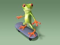 Kikker op een skateboard Royalty-vrije Stock Afbeeldingen