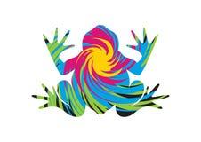 Kikker psychedelische vector Stock Afbeeldingen