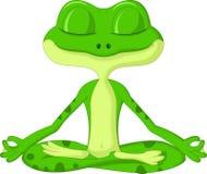 Kikkerbeeldverhaal die yoga doen Stock Foto's