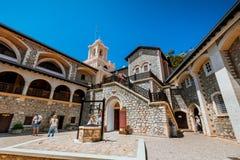 Kikkos monastery, Cyprus, MAY 10, 2016. Old Kikkos monastery, famous in Cyprus in the mountain stock photo