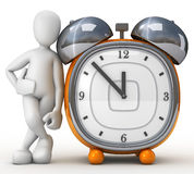 Kiko Apollo Alarm. 3d image, character supported the clock on white background Royalty Free Stock Photo