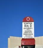 Kilómetro cero, Bucarest, Rumania por el teatro nacional Imágenes de archivo libres de regalías