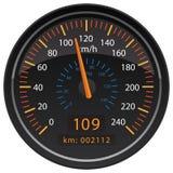 Kilómetros de KMH por el ejemplo automotriz del vector del indicador del tablero de instrumentos del odómetro del velocímetro de  fotografía de archivo