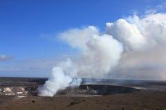 Kilaeua volcano in Hawaii. Hawaii volcanoes National Park - crater on the caldera Halemaumau. Kilauea volcano Stock Photography