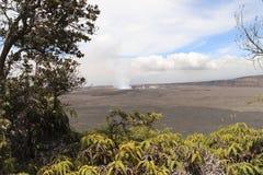 Kilauea主要火山口和破火山口视图,大岛,夏威夷 库存照片