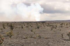 Kilauea主要火山口和破火山口视图,大岛,夏威夷 免版税库存图片