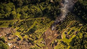 Kilauea威胁夏威夷家 库存照片