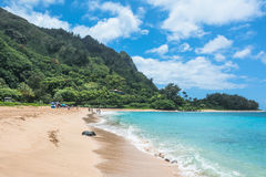 Kilauea海滩在考艾岛, Hawai 库存照片