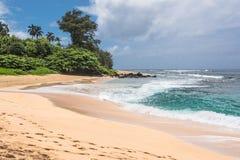 Kilauea海滩在考艾岛, Hawai 库存图片