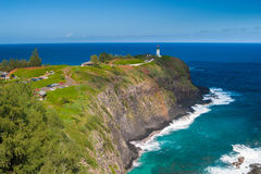 Kilauea灯塔在一个晴天在考艾岛 库存照片