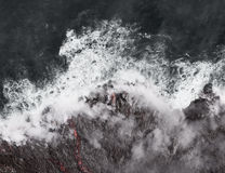 Kilauea熔岩进入海洋,扩展海岸线 库存照片
