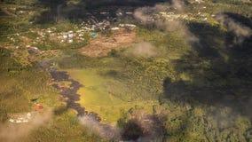 Kilauea bedreigt de Huizen van Hawaï Royalty-vrije Stock Foto's