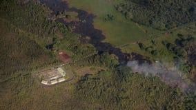 Kilauea bedreigt de Huizen van Hawaï Stock Foto