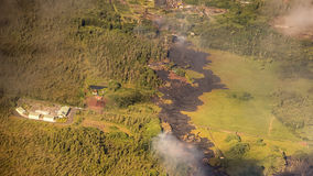 Kilauea bedroht Hawaii-Häuser lizenzfreies stockbild