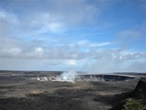 Kilauea Caldera Emitting Volcanic Gases and Forming Clouds. Big Island, Volcano, Hawaii Stock Photos