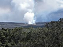 Kilauea Caldera Emitting Volcanic Gases and Forming Clouds. Big Island, Volcano, Hawaii Stock Images