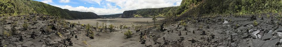 Kilauea Iki火山口视图,大岛,夏威夷 库存照片