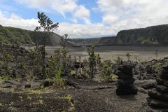 Kilauea Iki crater view, Big Island, Hawaii. Kilauea Iki crater view and trail path, Big Island, Hawaii Stock Photo