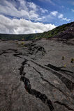 Kilauea Iki Trail. Big cracks on Kilauea Iki Trail in Volcano Naltional Park on Hawaii Island Stock Photo
