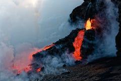 Kilauea Lawowy przepływ wchodzić do Pacyfik Zdjęcie Stock