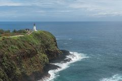 Kilauea-Leuchtturm am Kilauea-Punkt-nationalen Schutzgebiet auf Kauai, Hawaii lizenzfreie stockfotos