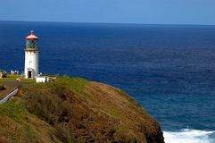 Kilauea lighthouse. National historic landmark lighthouse on the north shore of kauai on clear blue day Royalty Free Stock Images