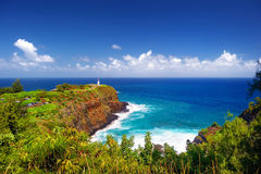 Kilauea lighthouse bay on a sunny day in Kauai Stock Images
