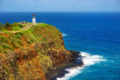Kilauea lighthouse bay on a sunny day in Kauai Royalty Free Stock Images