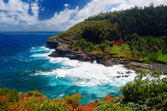 Kilauea lighthouse bay on a sunny day in Kauai Royalty Free Stock Photo