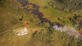 Kilauea menace des maisons d'Hawaï Photo libre de droits