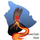 Kilauea Volcano Erupts on the island of Hawaii. Large flow of lava. Big Island of Hawaii contour. Kilauea Volcano Erupts on the island of Hawaii. The mountain Royalty Free Stock Image