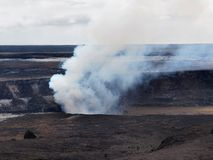 Kilauea volcano, Halema'uma'u Crater. In active phase with plume of volcanic gas Royalty Free Stock Photo