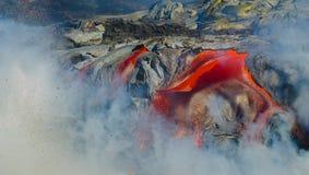Kilauea Volcano Lava Flow Fotografering för Bildbyråer