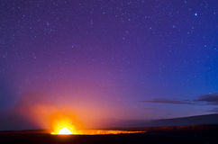 Kilauea Volcano and Night Sky Royalty Free Stock Images