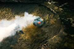 Kilauea Volcano Pu ' u 'O'o Hawaii vulkannationalpark Arkivfoton