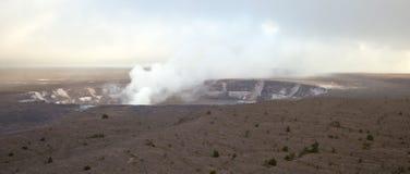 Kilauea wulkanu krater - panorama zdjęcie stock