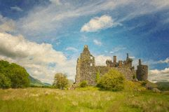Kilchurn Castle Landscape Digital Painting. A digital painting of Kilchurn Castle, a ruined 15th century structure on the banks of Loch Awe, in Argyll and Bute Stock Photos