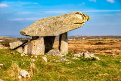 The Kilclooney Dolmen is neolithic monument dating back to 4000 to 3000 BC between Ardara and Portnoo in County Donegal royalty free stock photo