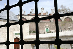 Kilic Ali Pasha Mosque Window. Looking outside from a window in Kilic Ali Pasha Mosque, Tophane, Istanbul Royalty Free Stock Photo