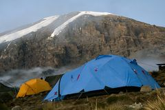 Kilimanjaro 018 karango camp tent. Karango camp tent and summit Royalty Free Stock Images