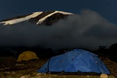 Kilimanjaro 019 karango camp tent. Night view Royalty Free Stock Photos