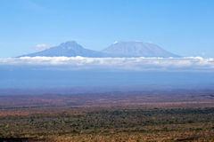 Kilimanjaro. View at Kilimanjaro from Tsavo National Park Royalty Free Stock Photos